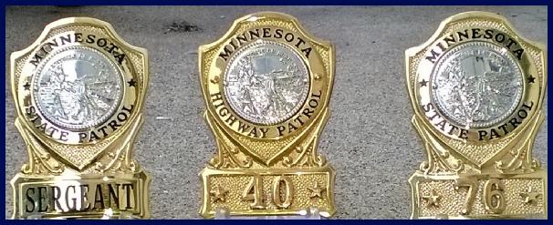 Minnesota State Patrol badges, collar brass, challenge coins